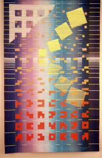 Starting in the upper left corner is a strong grid that evolves into Chinese characters, from white to yellow to orange.  Yellow rectangles are superimposed over the grid. The background moves, left to right, from dark blue to shades of purples to shades of blues and greens and back to dark blue.