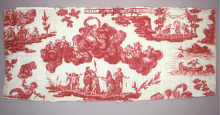 Design in red on white ground. At top a goddess drawn by birds in the clouds. At bottom, the Three Fates cut the thread of Psyche's life while Cupid mourns.