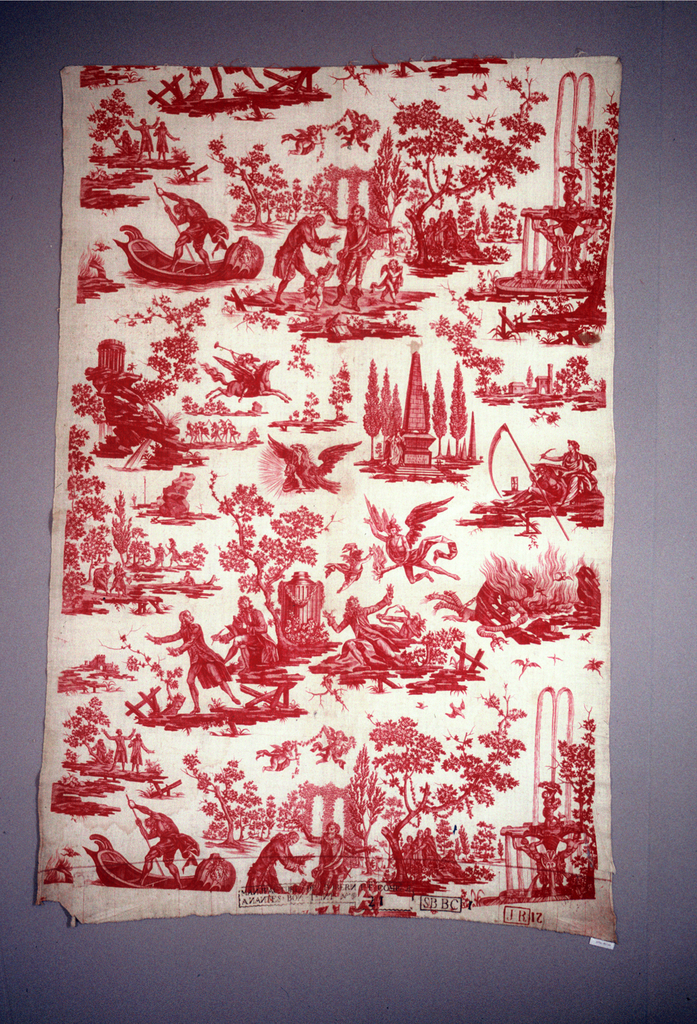 A series of scenes associated with Voltaire including Henry IV crowning Voltaire with laurel, an eagle placing a bust of Voltaire on a pedestal and Voltaire's tomb at Scelliere. All in red on white.