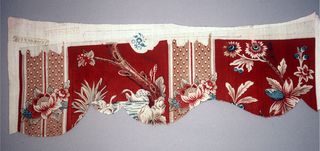 Scalloped edge piece with design of swans in water, plants and trees alternate with stripes.