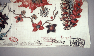 Small part of a large multi-color design showing exotic flowers and stems.
