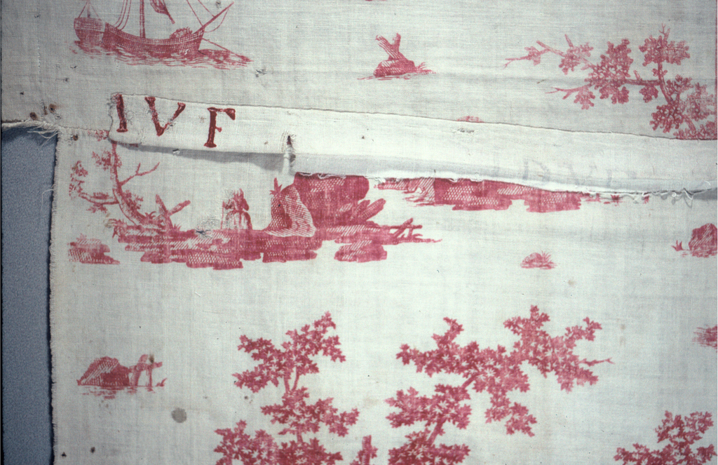 """Design in red on a white ground. Isolated scenes that illustrate the story of """"Nina"""", a musical comedy by Dalayrac (1753–1809) in Paris in 1786. The book was by Marsollier (1750–1817)."""