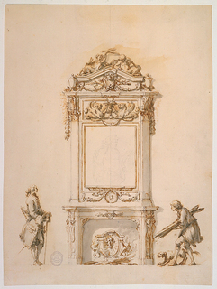 An ornate mantelpiece, decorated with sculpted reliefs of lion heads and scrolls occupies the center of the design. A carved frame, supported by pilasters and ornamented with garlands, rosettes, and griffins terminates in a triangular pediment. The overmantel contains an antique bust of Antinous. Flanking the mantelpiece are two men - on the right a man of humble origins accompanied by a dog crouches, holding wooden planks. On the left, a well dressed man stands and watches, holding a walking stick.