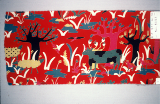 Red with stylized trees, cows, birds and plants in purple, white, turquoise, black, yellow and green.