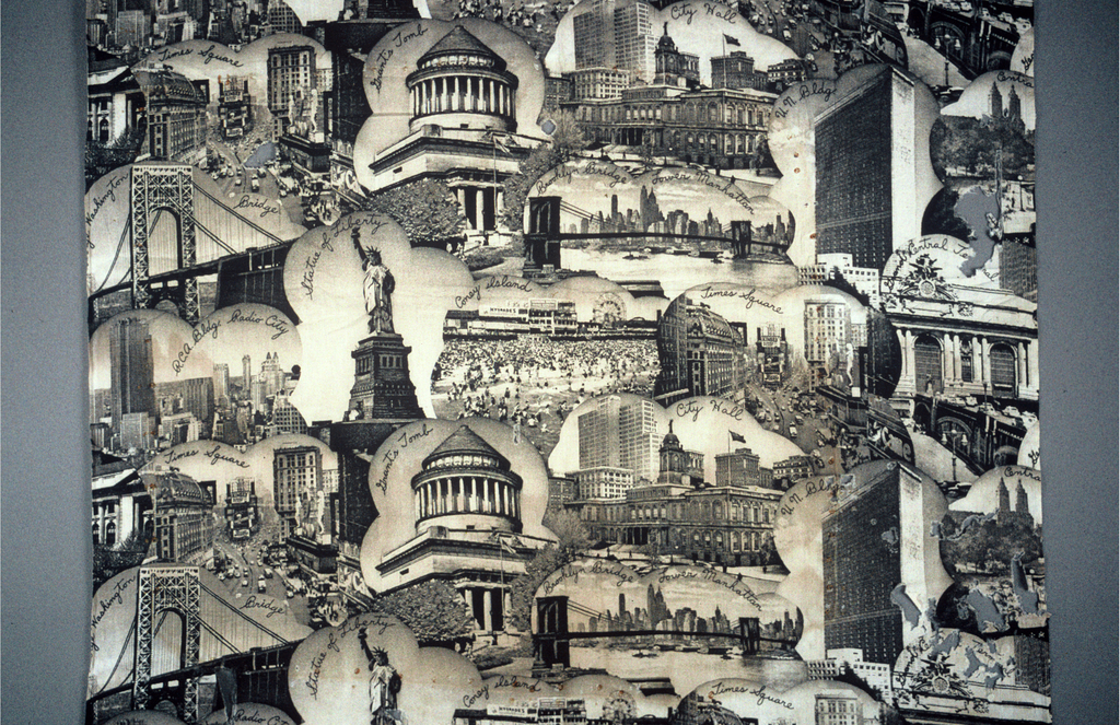 Length of cotton fabric printed with New York City monuments, tourist sites, and buildings, including the Statue of Liberty, Grant's Tomb, Times Square, Coney Island, the Brooklyn Bridge, the George Washington Bridge, City Hall, the RCA building at Radio City, Grand Central Terminal, and the United Nations. Printed in black on an off-white ground.