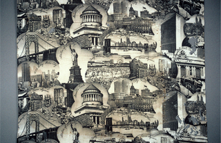 Photo printed scenes of New York City. Black printed on off-white fabric.