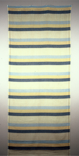 Horizontal bands of blue, yellow and white.