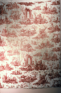 Several scenes of amorous couples (one of them playing with a lamb) and of women with babies. In red on white. Quilted and mounted on linen.