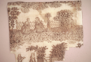 Fragment showing two seated women in conversation with a man eavesdropping and part of a scene with a man angry with a weeping woman. In brown on white.