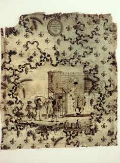 """Central scene of people storming the Bastille. Medallion at top """"LA  BASTILLE DEMOLITE AOUT 29 1789"""". Everything connected by ribbons with scattered fleur de lys."""