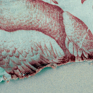 Part of a bird with a sprig in its beak. Paired warps and wefts. in red on white.