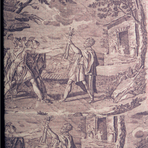 """Quilted and lined bedcover. The principal fabric on the face is a roller printed adaption of two plate printed fabrics, one being the Favre Petitpierre fabric showing the oath of the Horatii, the other based on an image of the battle of Thermopolye. The panel on the right is pieced with a small piece of Jouy's roller printed """"Monuments of Egypt""""  and a red and white block print. The back of the cover is made of three different roller printed cottons.  The quilting in the center is traditional French diamond quilting, but the borders have been quilted with shapes that are like paisley botehs."""
