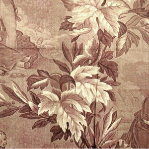 Two scenes, captioned in french, showing a nun and a grenadier within a grid of branches, leaves and berries. In brown on white.