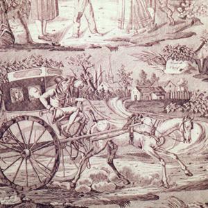 Four scenes, all captioned in French, showing travelers on the road. The captions are: 'Route de St. Cloud', 'Route de Poissy', 'Les Joueurs des Boules', 'Le Joueur de Cornemuse'.