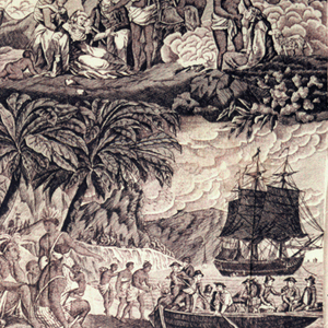 Four scenes that tell a story of Europeans removing blacks from their idyllic island home after the Europeans had been graciously welcomed. in purple on white.