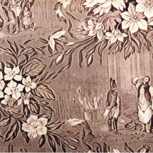 Humorous scenes of military life within a diamond lattice of flowers and leaves. There is a text in French under each of the three scenes but as the design is 'slurred' the text is difficult to read. unreadable.