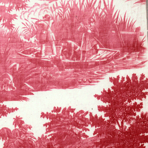 Four scenes, captioned in French, showing different kinds of hunting; fox hunting, duck hunting, ferret hunting and a har hiding. Same images as 1995-50-182 but without the patterned background. In red on white.