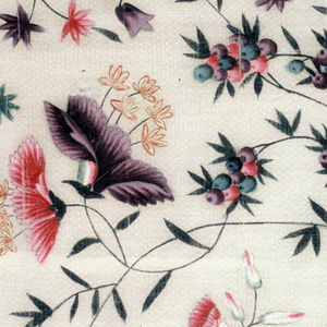 Fragment of a dress length. Design of exotic flowers and berries.