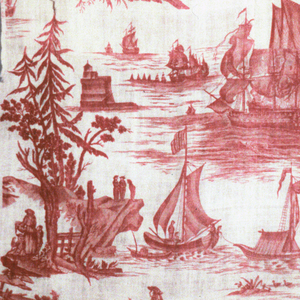 Principal scene is a battle at sea with ships firing at each other and other scenes are people on jetties, fortifications and scenes associated with ports. The building with the square tower is the chateau de Bouffay, a fortification in Nantes. In red on white.