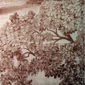 Decorative panel intended to evoke an earlier period. Romantic groups of figures in a pastoral landscape. The costumes are pastiches of various periods. in brown on ecru.