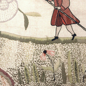 Man in eighteenth century costume blowing a hunting horn following three dogs chasing a deer. At the right are a seated woman with a shepherdess crook, three sheep and a house. There are tree trunks with exotic blossoms.