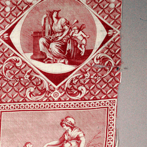 Scene of Cupid with woman with wings on her head holding a lyre; scene of woman kneeling before a statue of Cupid, scene of Cupid tying the hands of a woman and scene of a woman with a dog on its hind legs. In red on white.