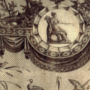 Design of an elaborate fountain held up by women over a medallion of Ceres. Alternate with cattle by a pollarded tree. Various birds are around the fountain. In brown on white.