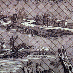 Design of hunters on horseback, dogs and deer all in isolated islands on a background of diagonal squares. In dark reddish brown on white.