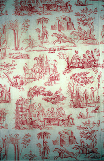 Bedcover made of several lengths of fabric. Bed cover assembled assymetrically, as if for a cupboards bed.  Pattern is of horse racing and feasting.  Red on white.