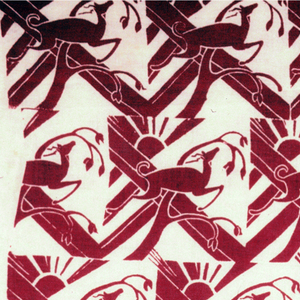 Off-set units of landscape with gazelle printed in dark red.
