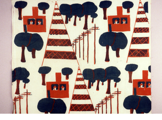 Off-set pattern of stylized trees, house and power lines printed in orange and green.