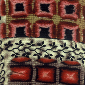 A band of rectangles, with each rectangle showing different embroidery stitches, patterns and colors. The patterns are seperated by narrow patterns done in black.