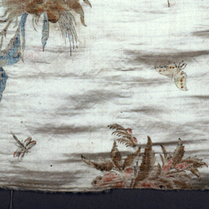 Cream-colored satin ground painted with Chinoiserie design of birds, pagodas, flowers and insects.