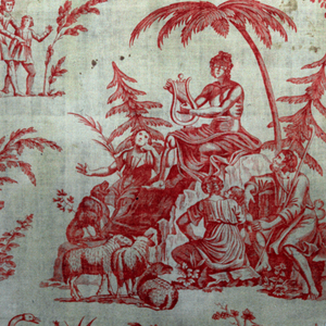 Two vignettes and fragments of others. 1) Shepherd and other figures dressed in classical costumes seated under trees; 2) Group of figures in classical costumes playing musical instruments. Printed in red on white.