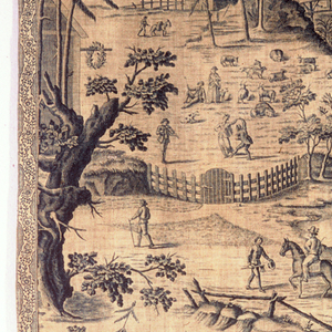 Long panel of heavy off-white cotton printed in blue with a rustic scene of fields, villagers dancing, trees and a stream with buildings on either side. Trimmed by narrow blue printed braid of dark cotton. Long repeat.