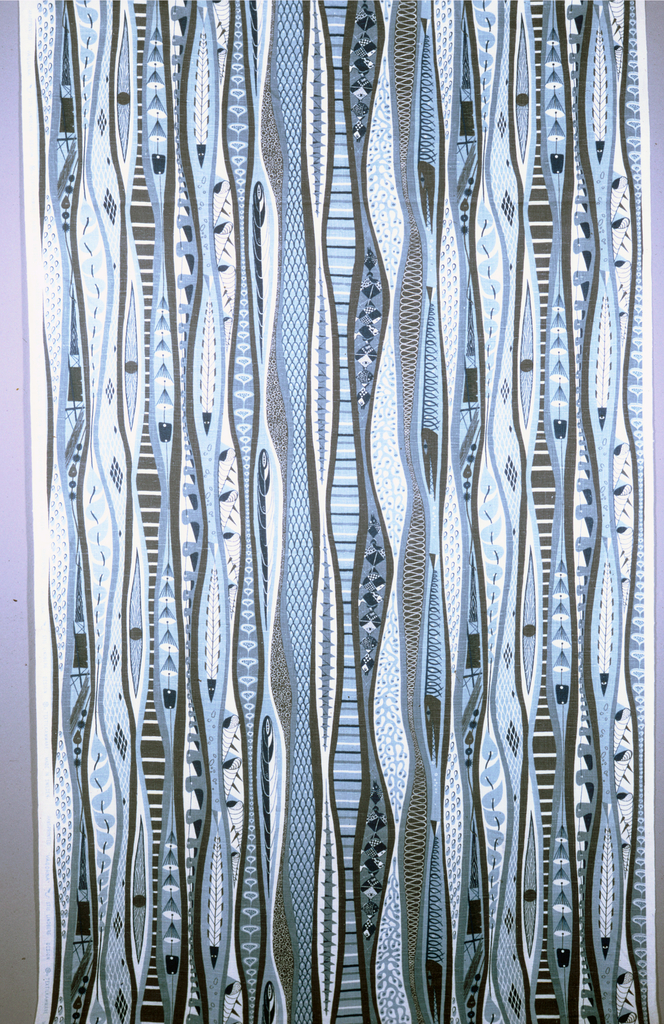 Length of printed linen with a straight repeat design of vertical bands of sea shells, fish, nets, and sharks in blue and gray on a white ground.