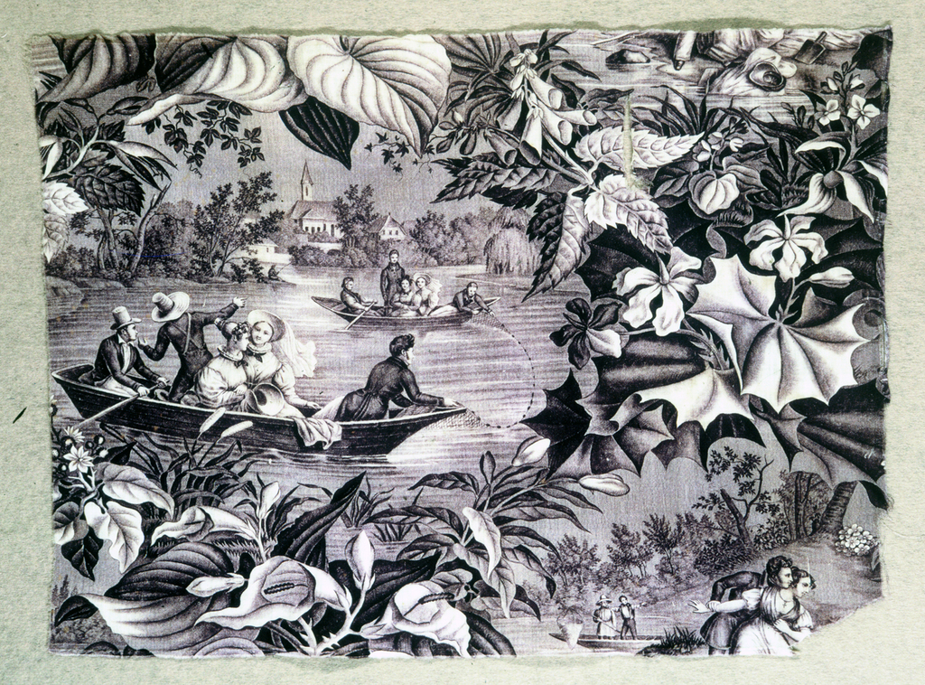 Fragment of printed fabric: finishing scene on lake with men and women in boats fishing with a net. Central scene framed by dense flowers and leaves. Color: purple. Less than one full repeat in height and width.