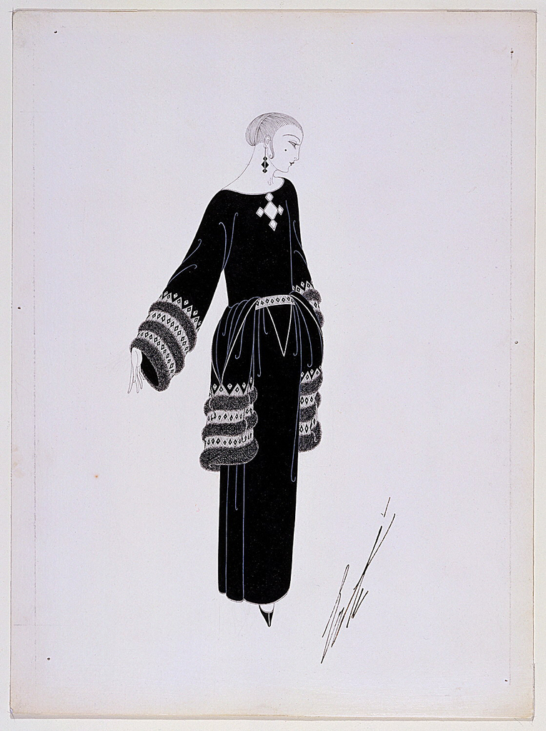 Right profile of standing female model in long black dress, three bands of fur on sleeves and hip panels.