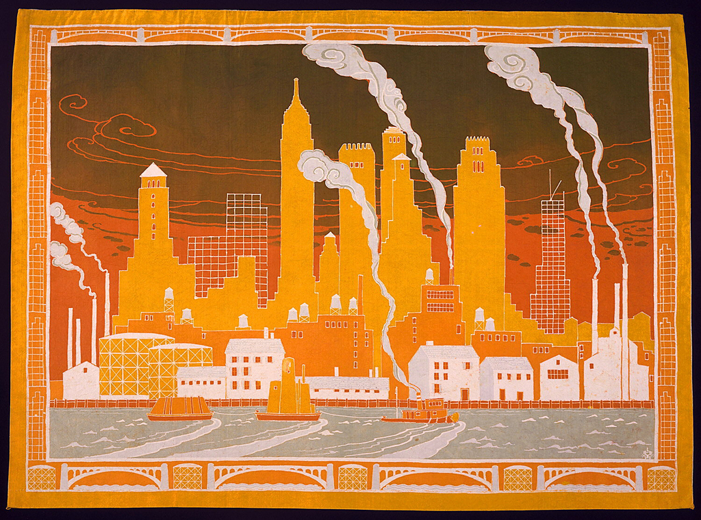 Horizontal silk hanging with a view of Manhattan as seen from the East River: the river with working boats in foreground, industrial buildings with smokestacks and warehouses in middle ground, tall skyscrapers (two under construction) in background against sky. Top and bottom borders have bridges and storage drums; side borders have skeletal buildings. In olive drab, light blue-green, dull orange, bright and dull yellows, and reserved ivory ground. Lined with bright blue.