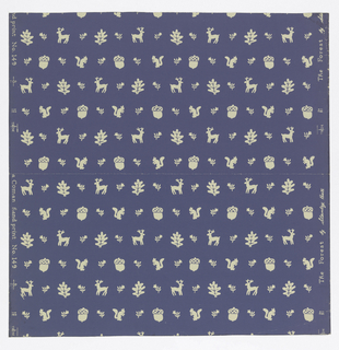 Horizontal rows of small white figures on blue ground. One row has reindeer and oak leaves and alternates with another which has squirrels and acorns. Flower sprigs are also used in both rows.