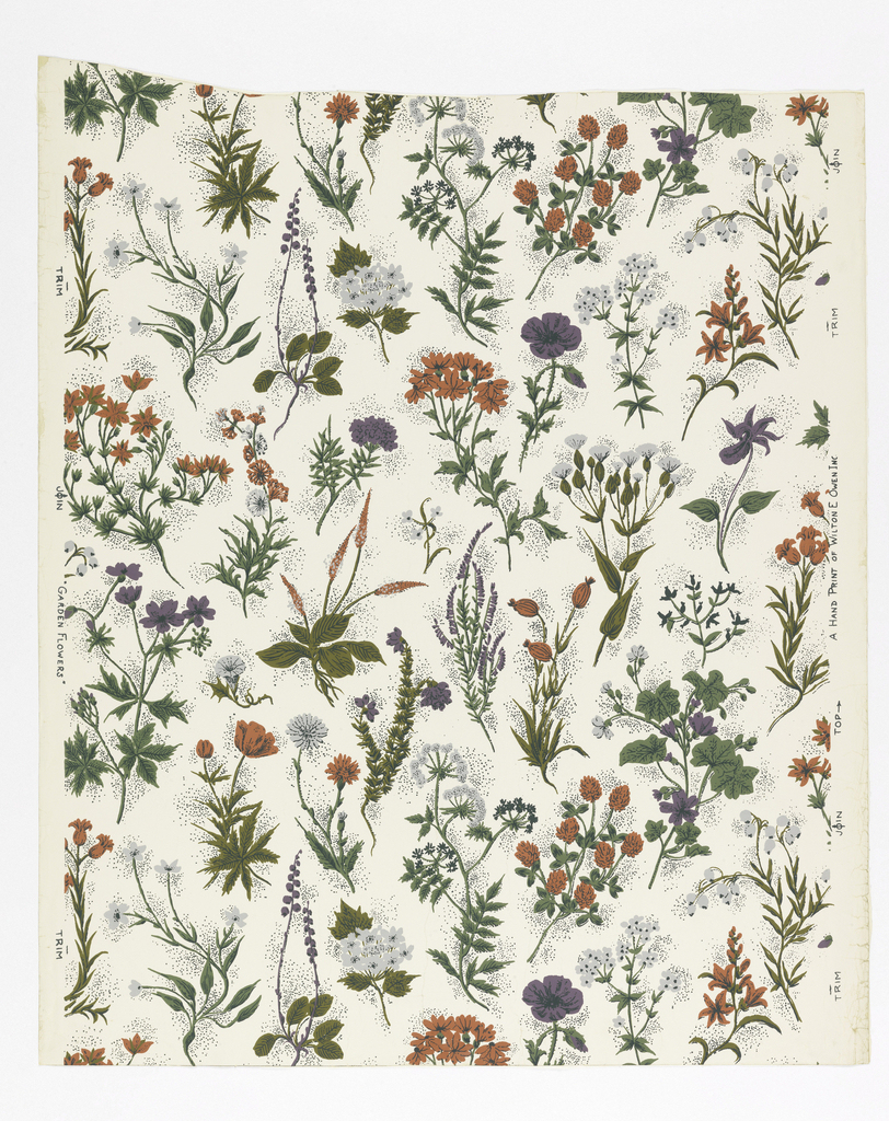 Closely spaced flowers of many varieties with green stems and leaves. The colors of the flowers are reds, purples and grays. Dark green pin dot embellishment. Printed on white ground.