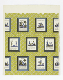 Drop-repeating arrangement of framed prints which are in the style of the early nineteenth century. The prints are pages from a child's book on grammar and deal with Pronoun, Verb, Article, Vowels, Adjectives, Noun. Text and figures illustrate the above. Flowered background.