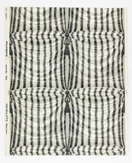 Simulated drapery. To right and left are lengths of vertically striped silk connected one to the other at intervals by a rosette and tassel which pulls the material at either side. Dark gray and white stripes and dark gray rosette and tassel. Ground of silk is white. Apertures between silk are pale gray, printed on glazed white ground.