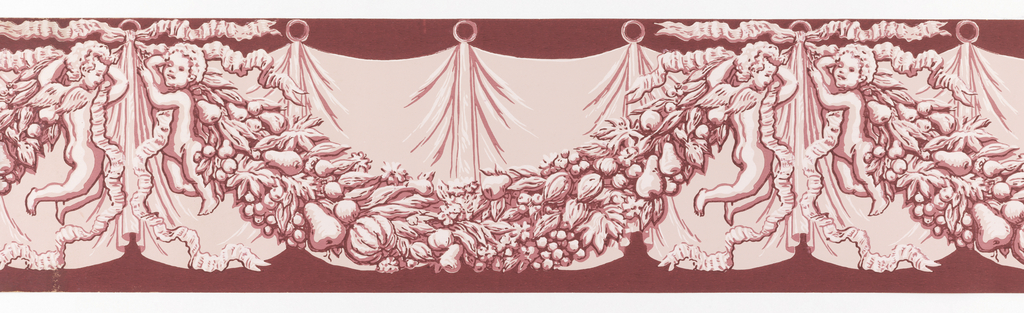Border consists of simulated drapery in background, with fruit and foliage swag held by putti in front. There is one putto at either end of the swag. Printed in shades of pink on deep red ground.