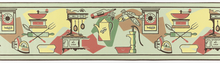 Wide border design containing various kitchen sundries and food articles: oven, coffee pot and coffee grinder, bread loaf, clock, pair of irons, fish, and bottles of port wine. Behind each of the appliances is a block of color. Printed in red, yellow, green and brown, with objects outlined in brown. Printed on light yellow-green ground.