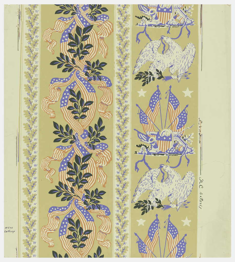 Design printed in two wide columns with narrow floral bands in between. Left column contains guilloche pattern composed of red, white, and blue stars and stripes banners and foliate sprigs; right column contains view of canon, shield, bayonette, and four American flags, alternating with an eagle. Reproduction of Governor Lathrop's House.