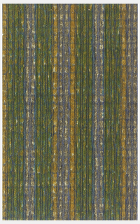 Stripe pattern in orange, green and blue. Printed on pebble-textured paper