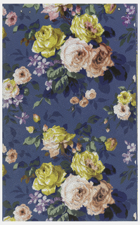 Roses in yellow and pink on blue ground. Printed on pebble-textured ground.