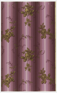 Scrolling floral sprigs on mauve stripe ground.