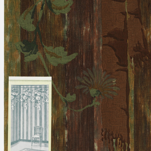 Folded, irregular stripe design with printed floral frieze at top, on paper embossed with rough plaster texture.